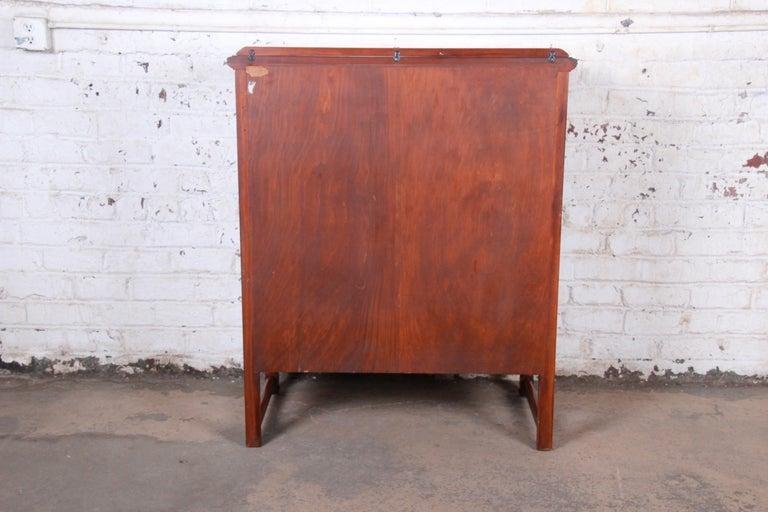 Landstrom Furniture French Carved Burled Walnut Highboy Dresser, circa 1940s For Sale 6