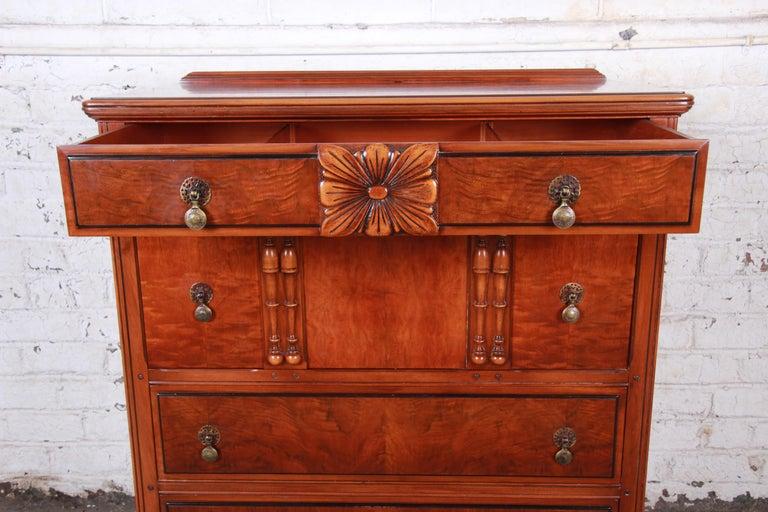French Provincial Landstrom Furniture French Carved Burled Walnut Highboy Dresser, circa 1940s For Sale