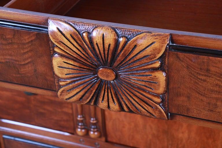 American Landstrom Furniture French Carved Burled Walnut Highboy Dresser, circa 1940s For Sale