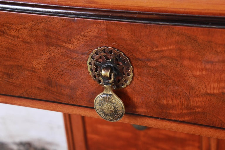 Landstrom Furniture French Carved Burled Walnut Highboy Dresser, circa 1940s In Good Condition For Sale In South Bend, IN