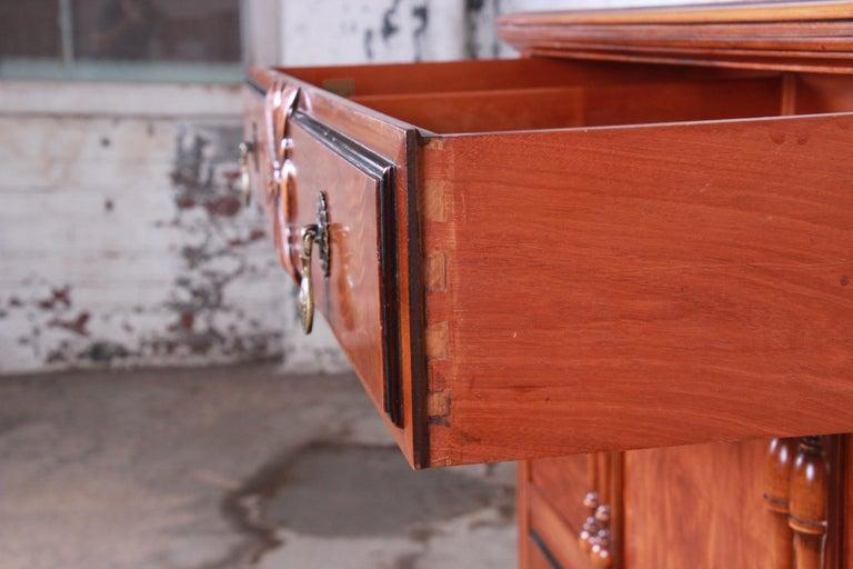 Brass Landstrom Furniture French Carved Burled Walnut Highboy Dresser, circa 1940s For Sale