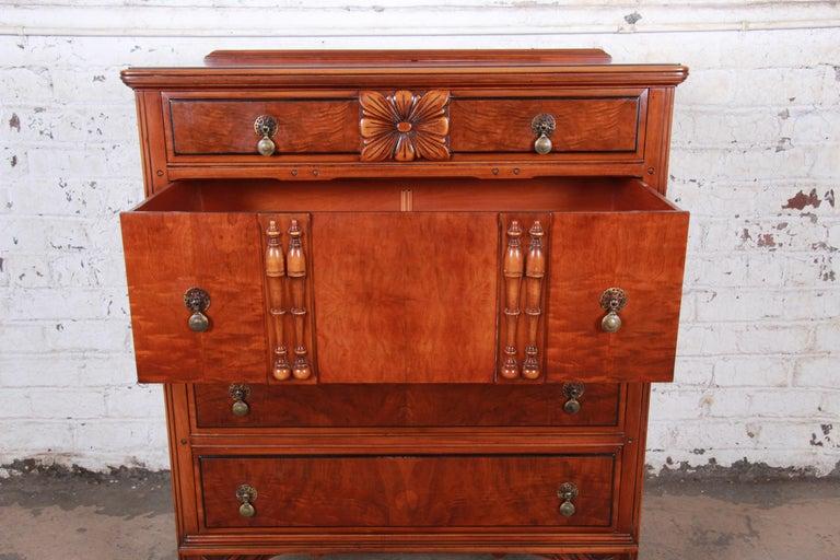 Landstrom Furniture French Carved Burled Walnut Highboy Dresser, circa 1940s For Sale 1