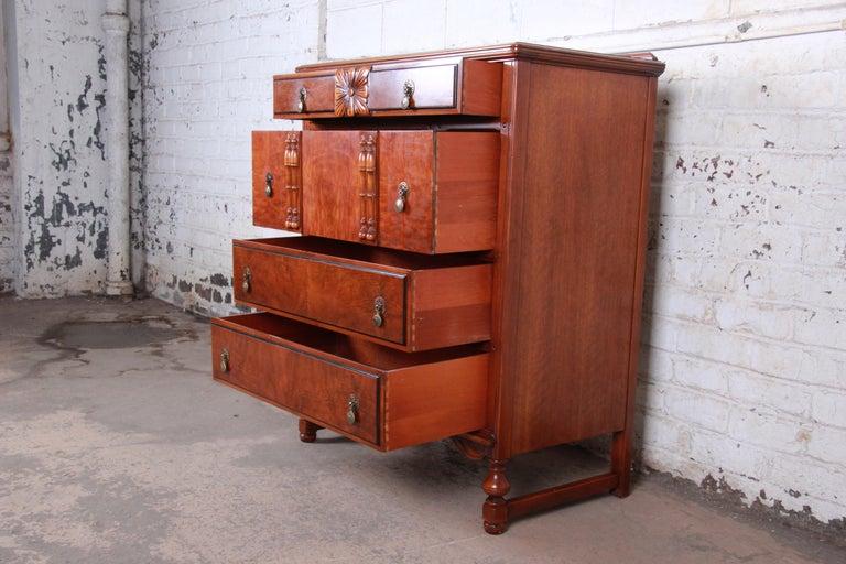 Landstrom Furniture French Carved Burled Walnut Highboy Dresser, circa 1940s For Sale 2