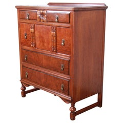 Landstrom Furniture French Carved Burled Walnut Highboy Dresser, circa 1940s