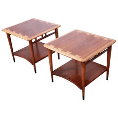Lane Acclaim Mid-Century Modern Walnut and Ash Side Tables, Pair