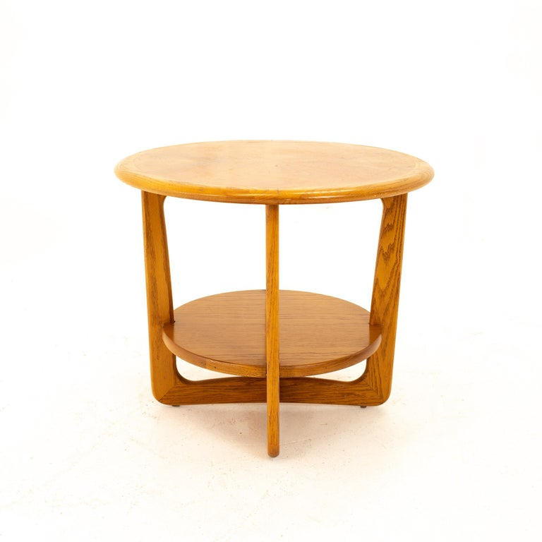 Lane Altavista mid century walnut round side end table End table measures: 26.5 wide x 26.5 deep x 22 high  All pieces of furniture can be had in what we call restored vintage condition. That means the piece is restored upon purchase so it's free