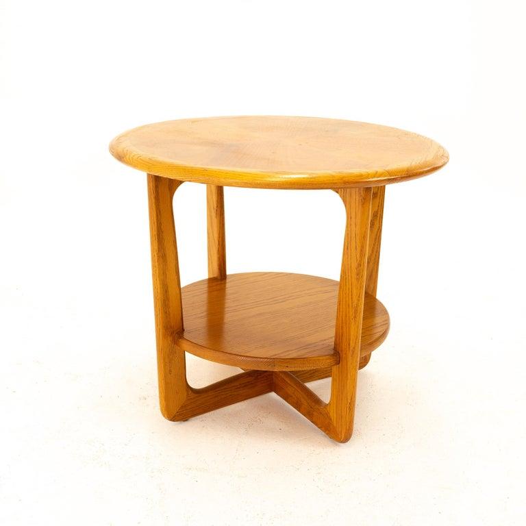 American Lane Altavista Mid Century Walnut Round Side End Table For Sale