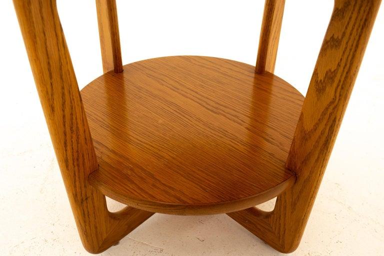 Lane Altavista Mid Century Walnut Round Side End Table For Sale 1