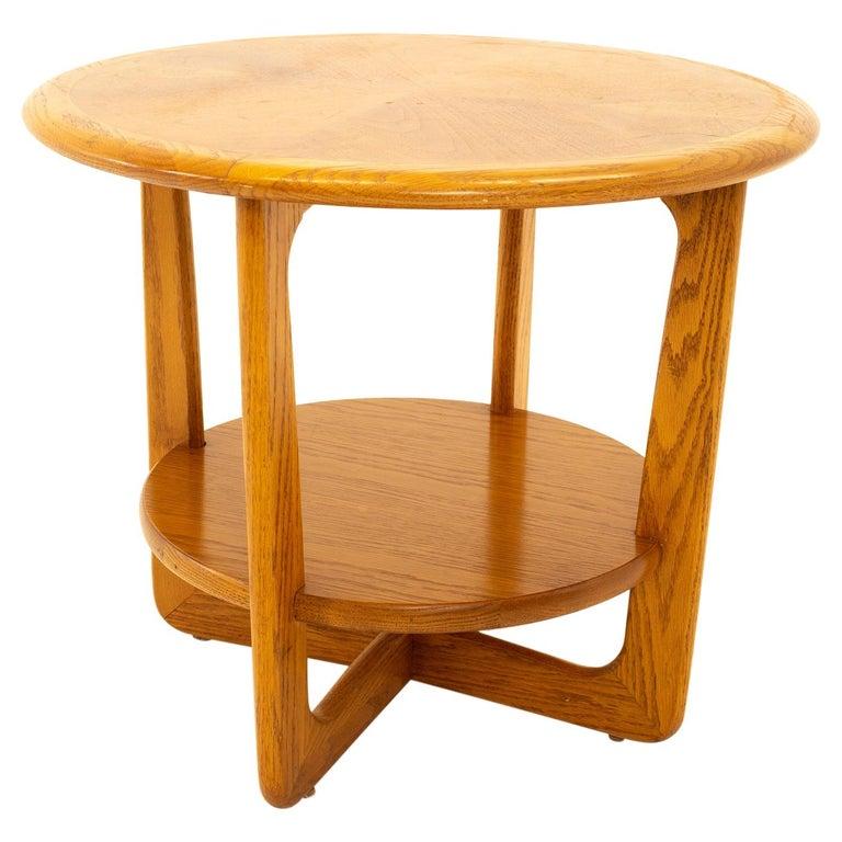 Lane Altavista Mid Century Walnut Round Side End Table For Sale