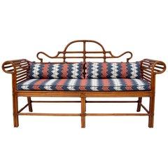 Lane Bamboo Caned Rattan Chinoiserie Sofa
