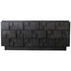 Lane Brutalist Charcoal Grey Dresser or Cabinet