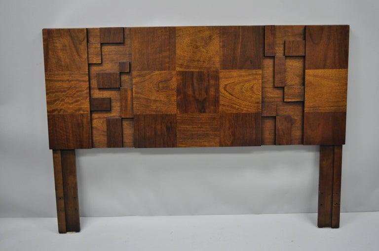 Lane Brutalist Geometric Block Queen Full Bed Headboard, Mid-Century Modern 6