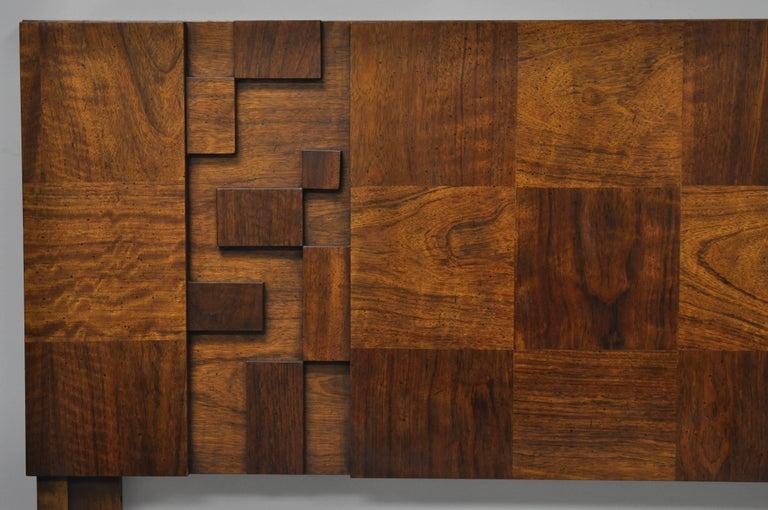 American Lane Brutalist Geometric Block Queen Full Bed Headboard, Mid-Century Modern