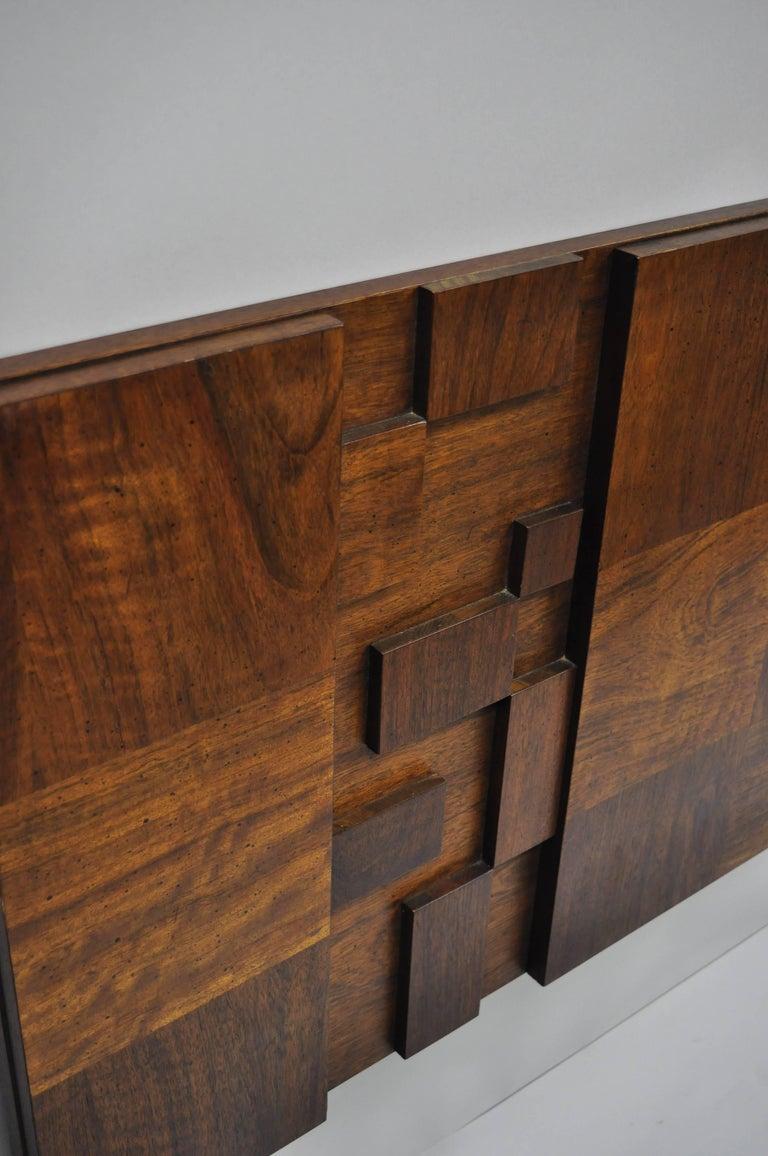 Wood Lane Brutalist Geometric Block Queen Full Bed Headboard, Mid-Century Modern
