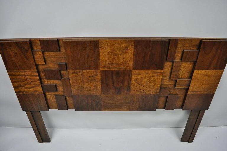 Lane Brutalist Geometric Block Queen Full Bed Headboard, Mid-Century Modern 1