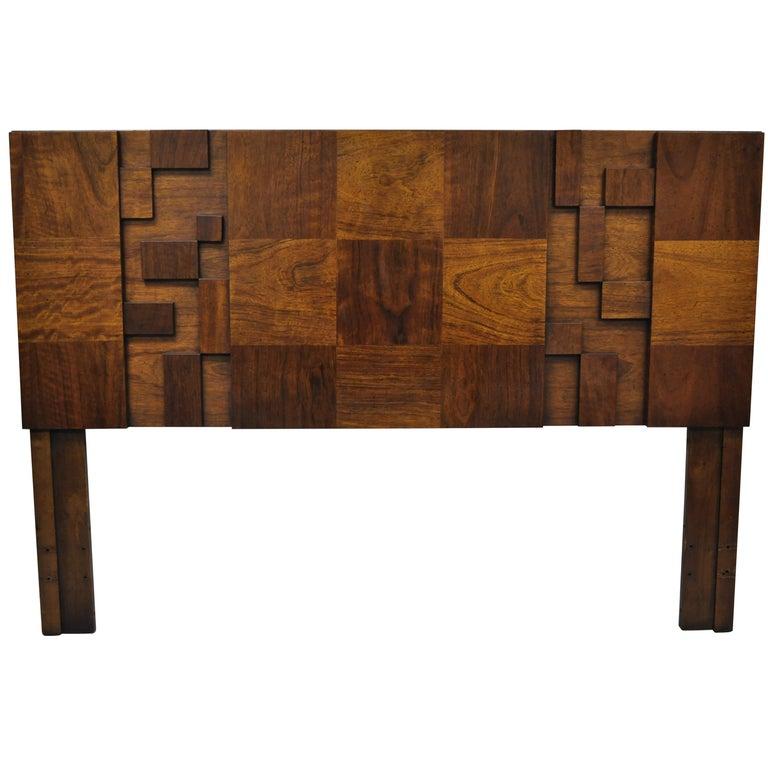 Lane Brutalist Geometric Block Queen Full Bed Headboard, Mid-Century Modern