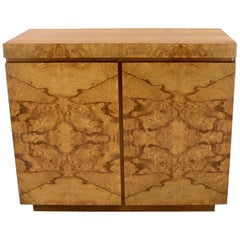 Lane Burl Wood Two-Door Pull Out Laminated Serving Tray Credenza Liquor Cabinet