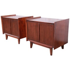 Lane First Edition Mid-Century Modern Sculpted Walnut Nightstands, Pair