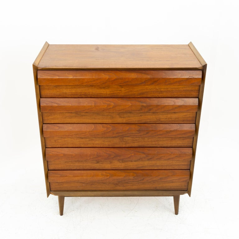 Late 20th Century Lane First Edition Mid Century Walnut 5 Drawer Highboy Dresser For Sale