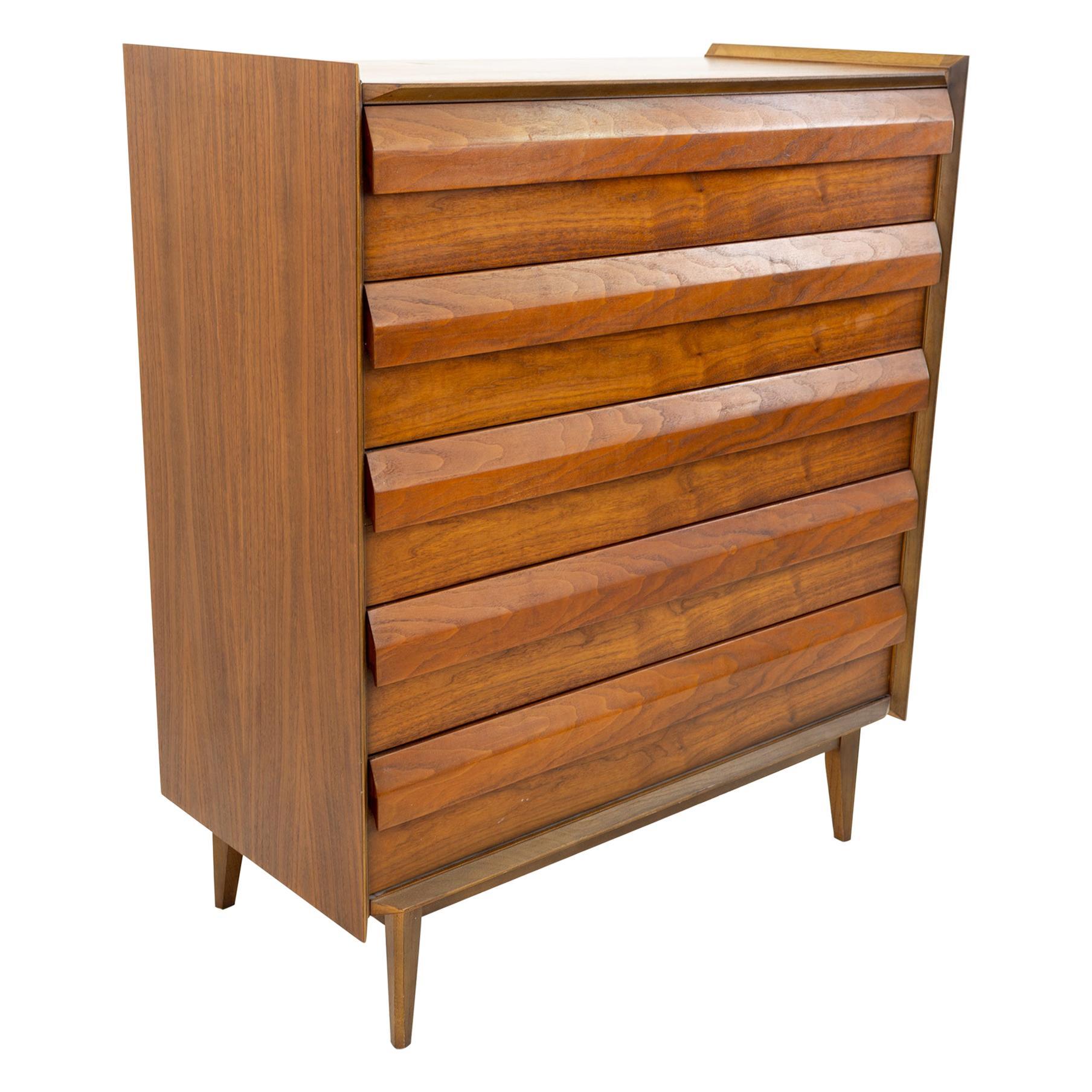 Lane First Edition Mid Century Walnut 5 Drawer Highboy Dresser