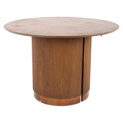 Lane First Edition Mid Century Walnut Expanding Round Pedestal Dining Table