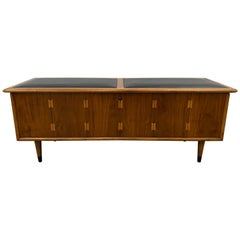 "Lane Furniture ""Acclaim"" Cedar Lined Walnut Chest with Leather Seat, circa 1960"