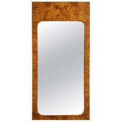 Lane Furniture Milo Baughman Style Mid-Century Modern Burl Wood Mirror