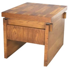 Lane Furniture Modern Brutalist Chunky Oak Parquet Side Table or End Table, 1977
