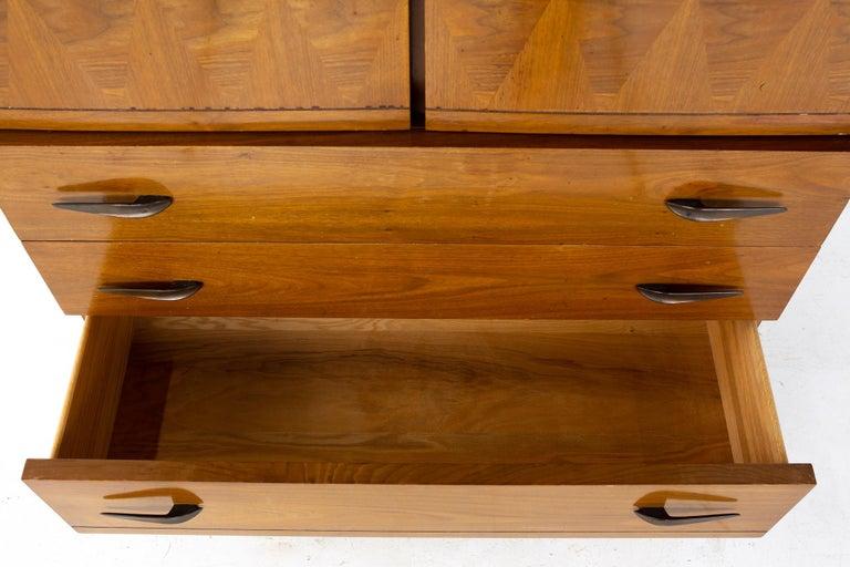 Lane Harlequin Mid Century Inlaid Walnut Gentleman's Chest Highboy Dresser For Sale 3