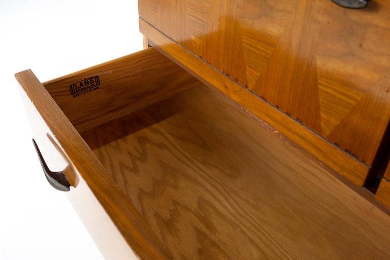 Lane Harlequin Mid Century Inlaid Walnut Gentleman's Chest Highboy Dresser For Sale 4