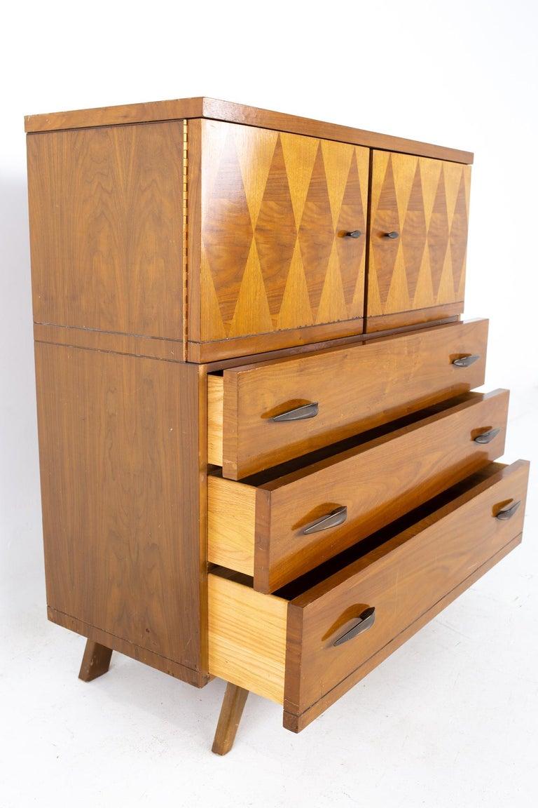 American Lane Harlequin Mid Century Inlaid Walnut Gentleman's Chest Highboy Dresser For Sale