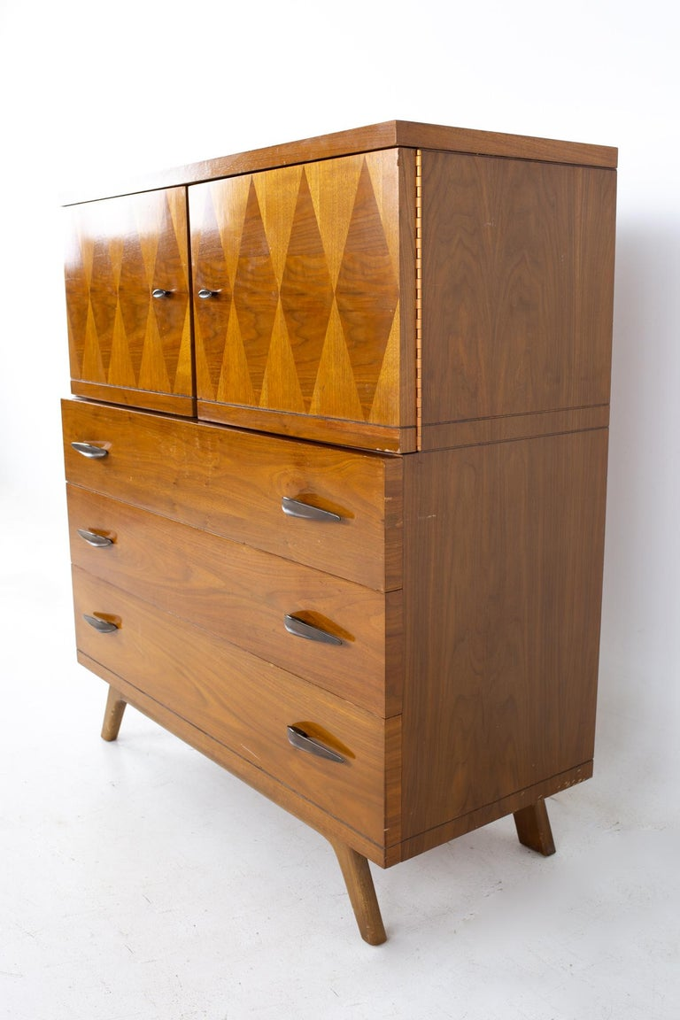 Brushed Lane Harlequin Mid Century Inlaid Walnut Gentleman's Chest Highboy Dresser For Sale