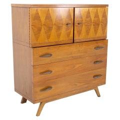Lane Harlequin Mid Century Inlaid Walnut Gentleman's Chest Highboy Dresser