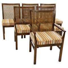 Lane Mid Century Brutalist Walnut & Cane Back Dining Chairs, Set of 6