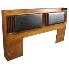 Lane Mid-Century Modern Rosewood and Walnut King Size Headboard with Lighting