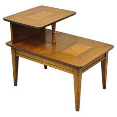 Lane Mid-Century Modern Walnut & Burl Wood Step Up Lamp Table Side End Table
