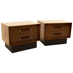 Lane Tower Suite Mid Century Walnut & Rosewood Nightstands - Pair