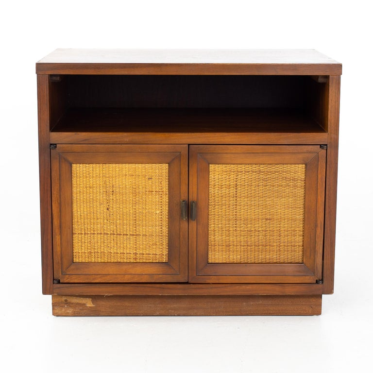 Mid-Century Modern Lane Mid Century Walnut and Cane Plinth Base Nightstand For Sale