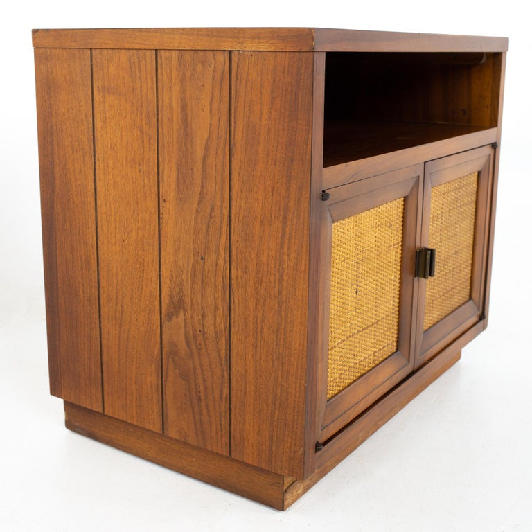 American Lane Mid Century Walnut and Cane Plinth Base Nightstand For Sale