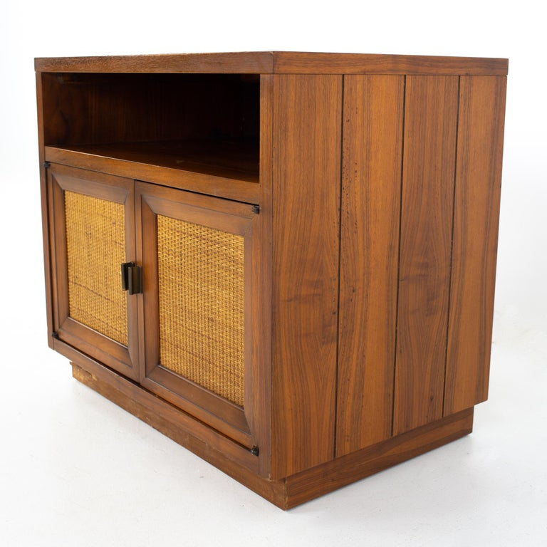 Lane Mid Century Walnut and Cane Plinth Base Nightstand In Good Condition For Sale In La Grange, IL