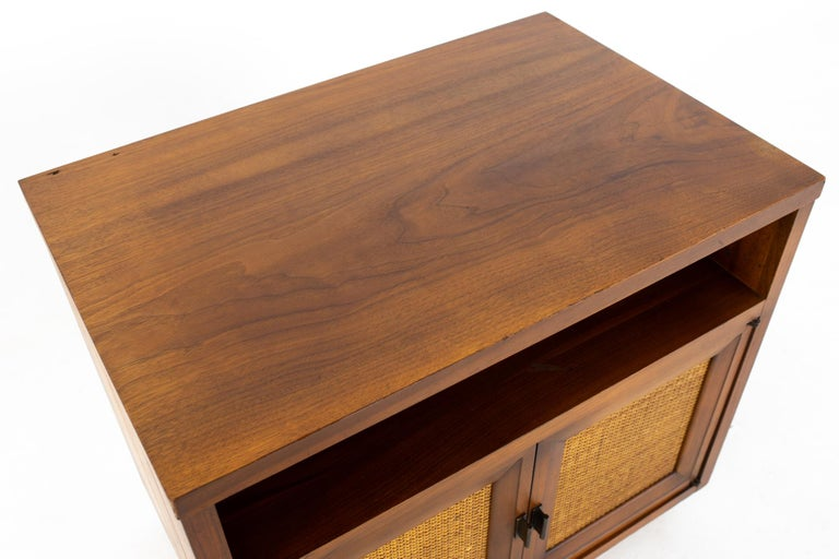 Late 20th Century Lane Mid Century Walnut and Cane Plinth Base Nightstand For Sale