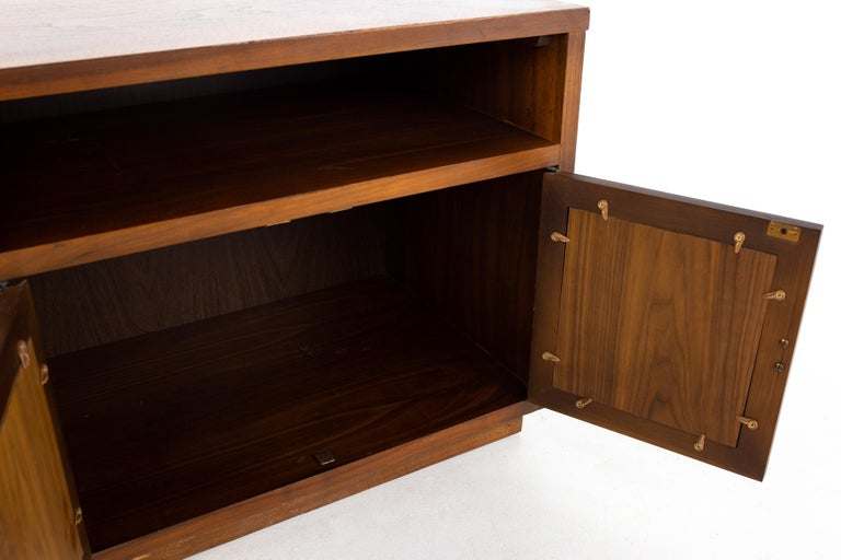 Lane Mid Century Walnut and Cane Plinth Base Nightstand For Sale 2