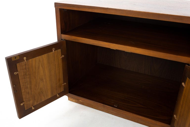 Lane Mid Century Walnut and Cane Plinth Base Nightstand For Sale 3