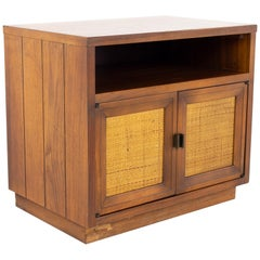 Lane Mid Century Walnut and Cane Plinth Base Nightstand