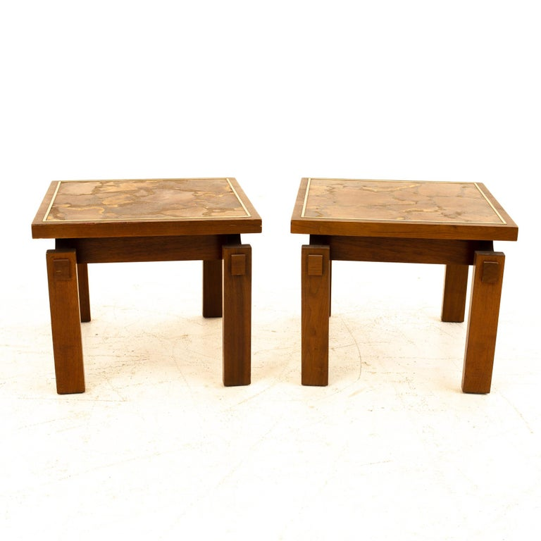 Lane Mid Century Walnut and Live Edge Inlaid Side End Tables, Pair Each table measures: 20 wide x 20 deep x 16 high  All pieces of furniture can be had in what we call restored vintage condition. That means the piece is restored upon purchase so