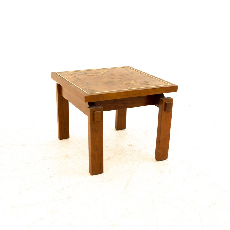 American Lane Mid Century Walnut and Live Edge Inlaid Side End Tables, Pair For Sale