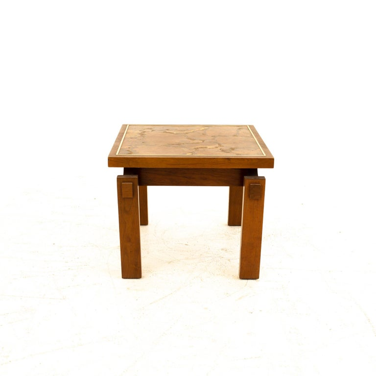 Lane Mid Century Walnut and Live Edge Inlaid Side End Tables, Pair In Good Condition For Sale In La Grange, IL