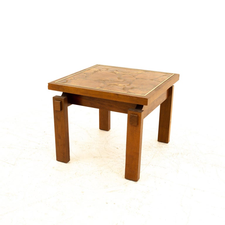 Late 20th Century Lane Mid Century Walnut and Live Edge Inlaid Side End Tables, Pair For Sale