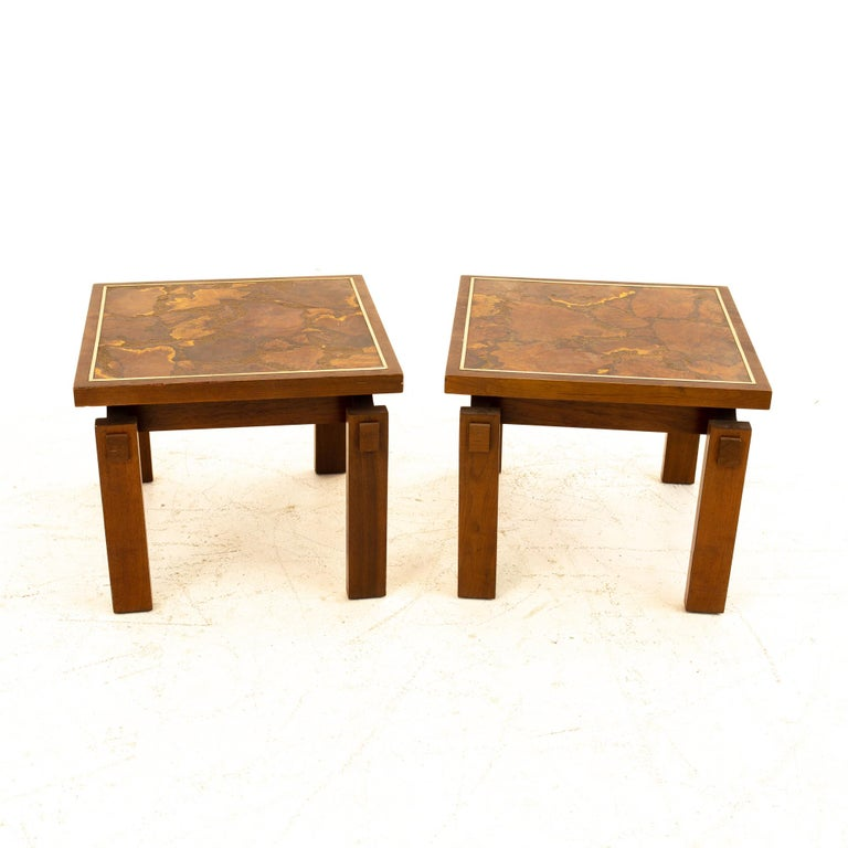 Wood Lane Mid Century Walnut and Live Edge Inlaid Side End Tables, Pair For Sale