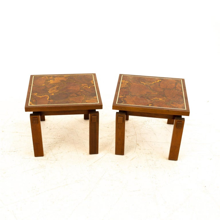 Lane Mid Century Walnut and Live Edge Inlaid Side End Tables, Pair For Sale 1